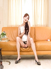 Hitomi Kanou Asian takes clothes off and fucks herself with toys