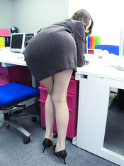 Office hottie Ibuki got thong pulled down for a fuck from behind