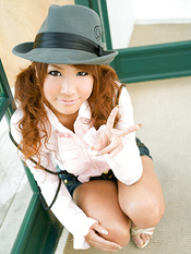 Mai Hoshino Asian with hat takes short jeans off and shows butt